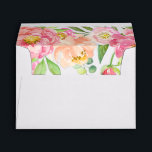 """Peach and Pink Peony Lined Wedding Invitation Envelope<br><div class=""""desc"""">These peach and pink peony lined wedding invitation envelopes are perfect for an elegant wedding. The floral design features a beautiful arrangement of watercolor peonies in shades of blush and coral. Personalize the envelope flap with the return address of the bride and groom.</div>"""