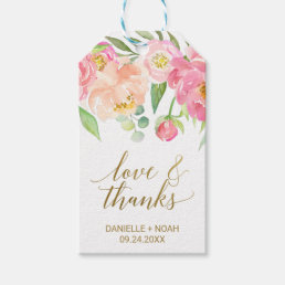 "Peach and Pink Peony ""Love & Thanks"" Favor Tags"