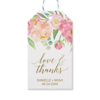 """Peach and Pink Peony """"Love & Thanks"""" Favor Tags"""