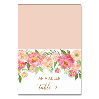 Peach and Pink Peony Wedding Escort Place Cards