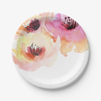 Peach and Pink Watercolor Floral Paper Plate