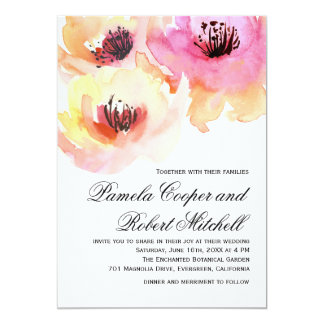 Peach And Pink Watercolor Floral Wedding Card