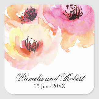 Peach and Pink Watercolor Floral Wedding Square Sticker