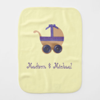 Peach and purple baby carriage for baby shower burp cloth