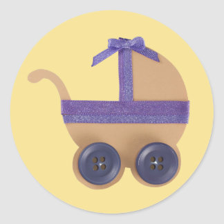 Peach and purple baby carriage for baby shower classic round sticker