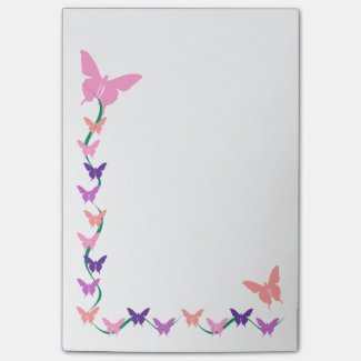 Peach and Purple Butterfly Border Sticky Note