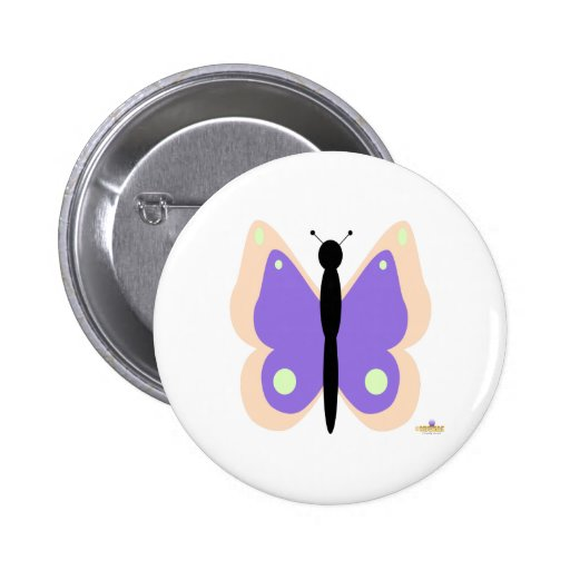Peach And Purple Butterfly Pinback Button