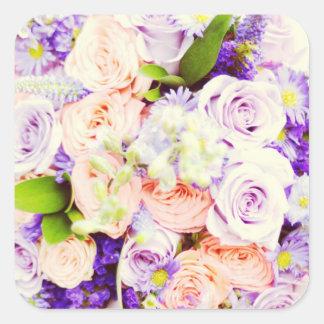 Peach and Purple Rose Wedding Stickers