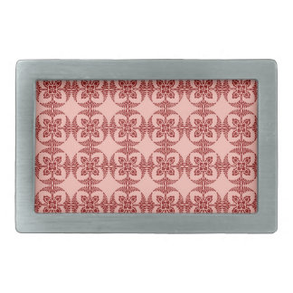 Peach and Red Floral Geometric Belt Buckle