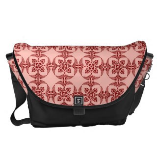 Peach and Red Floral Geometric Messenger Bag