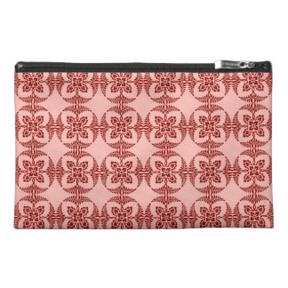 Peach and Red Floral Geometric Travel Accessory Bags