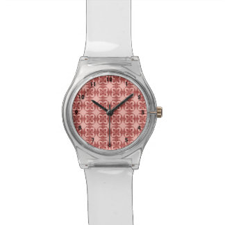 Peach and Red Floral Geometric Wrist Watch