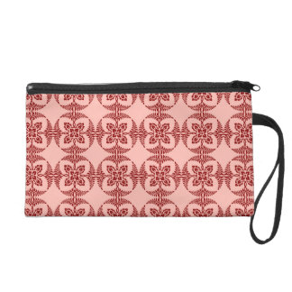 Peach and Red Floral Geometric Wristlet
