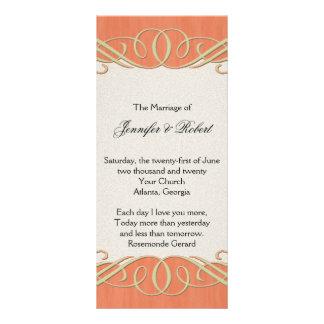 Peach and Sage Elegant Scroll Wedding Program