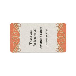 Peach and Sage Scroll Wedding Lip Balm Label