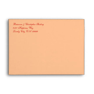 Peach and Scarlet Damask Invitation Envelopes