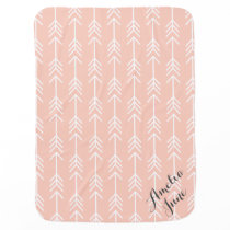 Peach and Seafoam Arrows Monogram Receiving Blanket