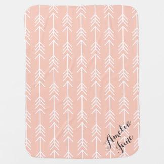 Peach and Seafoam Arrows Monogram Receiving Blanket