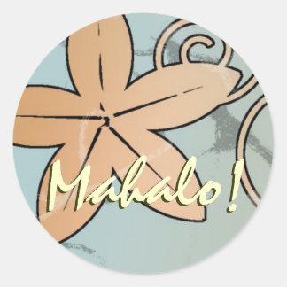 Peach and Teal Hawaiian Wedding Mahalo Seal Classic Round Sticker