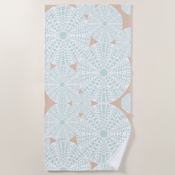 Peach and Teal Sea Urchin Towel