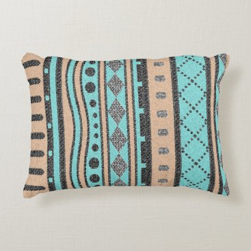 Aztec Themed Peach And Turquoise Aztec Pattern Accent Pillow