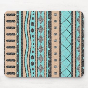 Aztec Themed Peach And Turquoise Aztec Pattern Mouse Pad