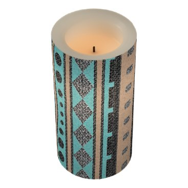 Aztec Themed Peach And Turquoise Southwest Pattern Flameless Candle
