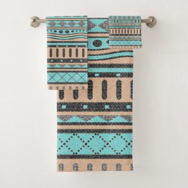 Aztec Themed Peach And Turquoise Tribal Pattern Bath Towel Set