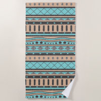 Peach And Turquoise Tribal Pattern Beach Towel