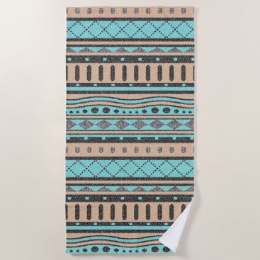 Aztec Themed Peach And Turquoise Tribal Pattern Beach Towel