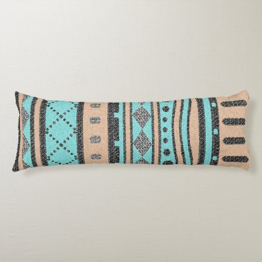 Aztec Themed Peach And Turquoise Tribal Pattern Body Pillow