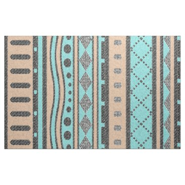 Aztec Themed Peach And Turquoise Tribal Pattern Fabric