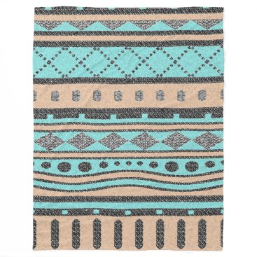 Aztec Themed Peach And Turquoise Tribal Pattern Fleece Blanket