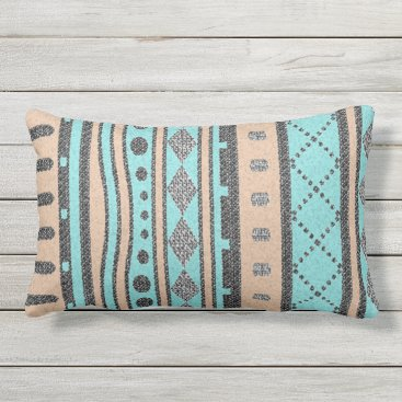 Aztec Themed Peach And Turquoise Tribal Pattern Outdoor Pillow