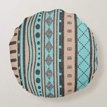 Aztec Themed Peach And Turquoise Tribal Pattern Round Pillow