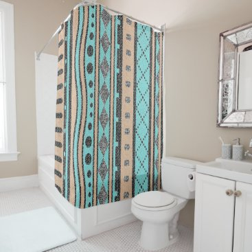 Aztec Themed Peach And Turquoise Tribal Pattern Shower Curtain