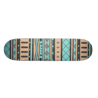 Peach And Turquoise Tribal Pattern Skateboard