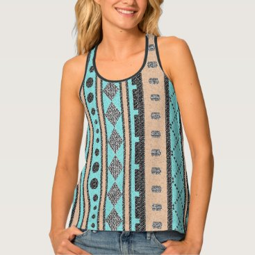 Aztec Themed Peach And Turquoise Vertical Tribal Pattern Tank Top