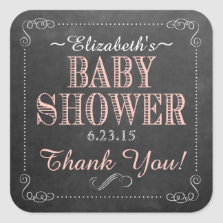Peach and White Chalkboard Look Baby Shower Square Sticker