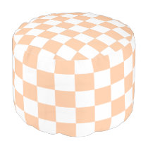 Peach and White Checkered Pouf