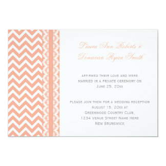 Peach and White Chevron Lace Reception Only Card