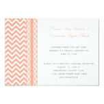 Peach and White Chevron Lace Reception Only 5x7 Paper Invitation Card