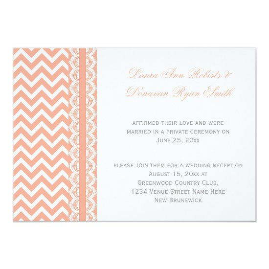 Peach and White Chevron Lace Reception Only Invitation