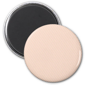 Peach and White Diagonal Stripes Refrigerator Magnet