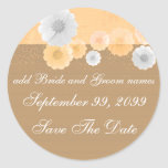 Peach And White Floral Save The Date Reminders Classic Round Sticker