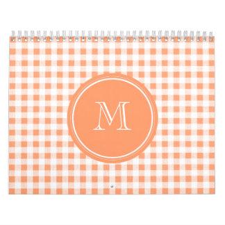 Peach and White Gingham, Your Monogram Calendar