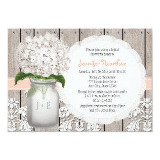 Peach and White Hydrangea Mason Jar Bridal Shower 5x7 Paper Invitation Card