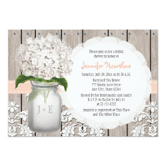 Peach and White Hydrangea Mason Jar Bridal Shower Card