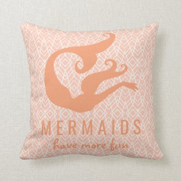 Aztec Themed Peach and White Mermaids Have More Fun Quote Throw Pillow