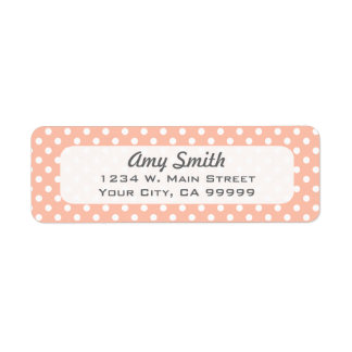 Peach and White Polka Dots Return Address Labels